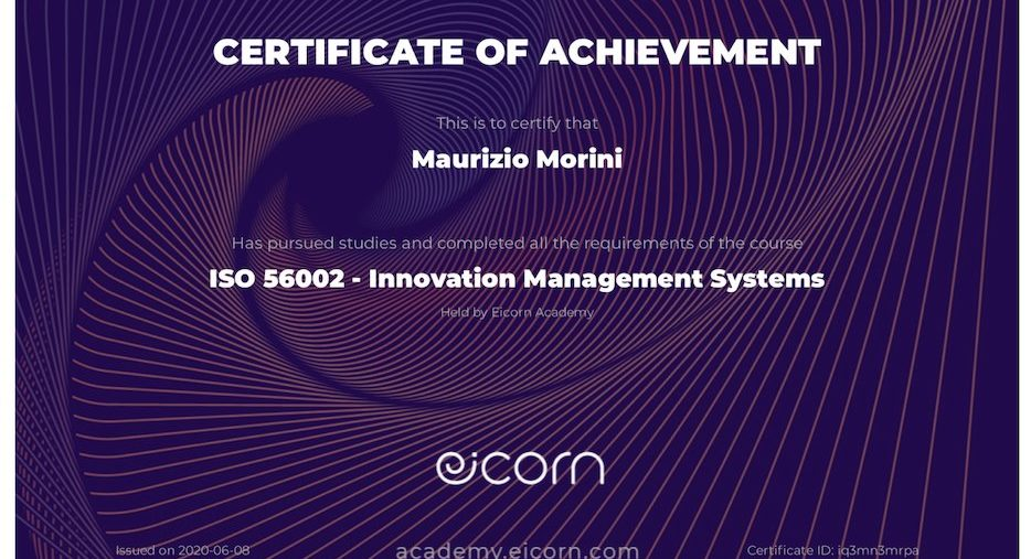 Maurizio Morini - ISO 56002 Innovation Management System